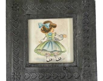 """Vintage Framed Image of Little Girl - Metal Frame with Easel Back - 5 1/2"""" Square"""
