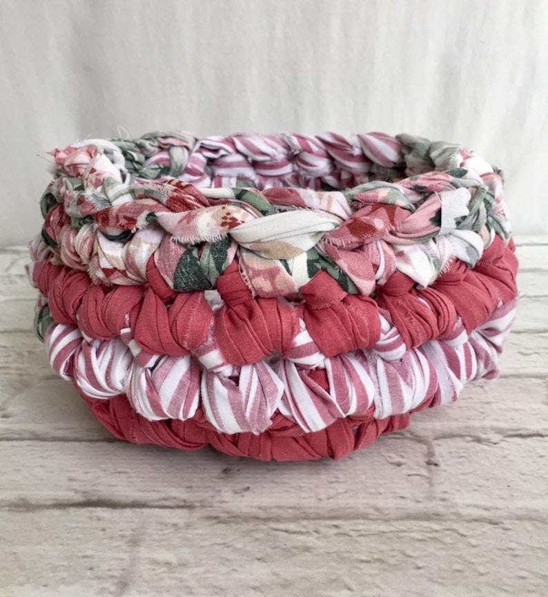 Small Pink Crochet Fabric Basket