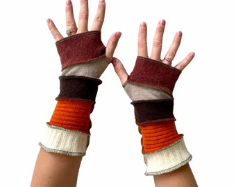 Natural Fiber Wrist Warmers Handcrafted in Oregon - Wool  Cashmere Fingerless Gloves in Rich Earth Tones