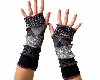 Black Ombré Fingerless Gloves with Red Stitching - Soft Warm Lightweight Arm Warmers - Gift for Women - Texting Driving Reading Arm Sleeves