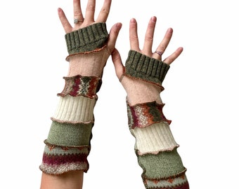 Long Arm Sleeves in Earthy Stripes - Cotton and Cashmere Upcycled Fingerless Gloves - Handcrafted in the Pacific Northwest
