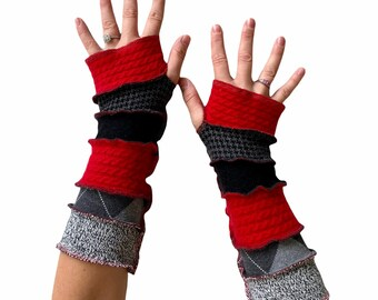 Red Cashmere Arm Warmers with Black Gray Cotton Argyle and Herringbone Prints - Fun to Wear Texting Driving Typing Fingerless Gloves