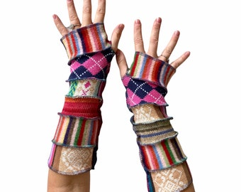 Natural Fiber Long Fingerless Gloves - Wool Stripes Cotton Argyle Funky Colorful Recycled Sweater Arm Sleeves - One of a Kind Gift for Women
