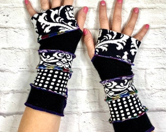 Black and White Fingerless Gloves - Cotton Cashmere Soft Wrist Warmers - Upcycled Clothing for Women - Handcrafted Accessories