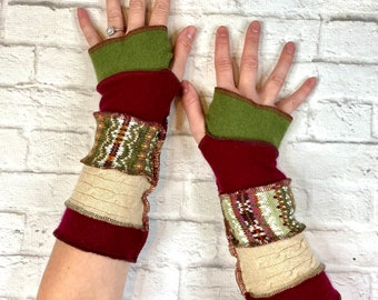 Cashmere Cotton Arm Warmers - Earthy Natural Colors Green Beige Rust - Quality Recycled Sweater Clothing - Made in Oregon