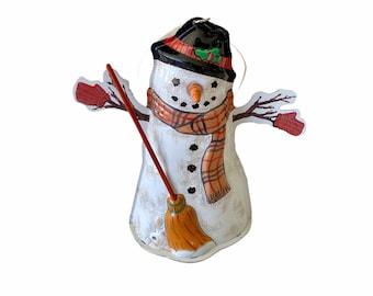 Vintage 3 Tin Snowman Christmas Ornament - Hallmark 1997