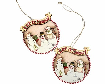 Vintage Mary Engelbreit Christmas Ornaments Let It Snow - 2 Hanging Wooden Ornaments with Cut Out Snowman and Family - Gift Tags