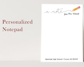 Personalized Teacher Notepad - Teacher Notepad - Teacher Note Pad Gift - stationery - stationary - A NOTE FROM