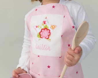 Handmade Personalised Children's Apron, Gift for baker, Embroidered, Personalized Apron, Girls Apron, Gift for Baker, Kids' Apron,