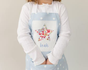 Personalised Apron, Embroidered, Handmade, Children's Apron, Baking Gift, Size Small age 2-5  (Age 6 - 12  available in separate listing)