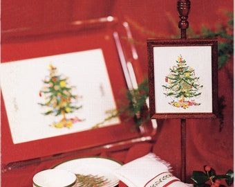 Spode Christmas Tree and Holly Border Charted Cross Stitch Pattern  PDF Format