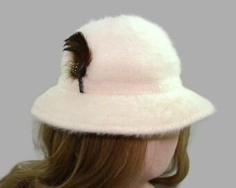 fb688a91b24 White Kangol Design Angora and Wool Bucket Hat