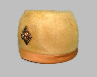 Vintage Brown Bucket Hat Dale Capers Tan Cloche with Brown Grosgrain Ribbon and Bow