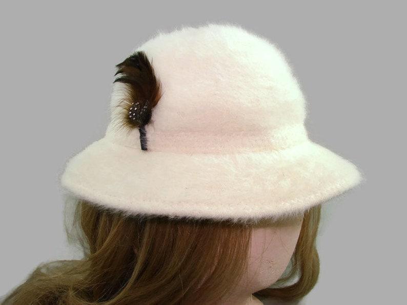 331e5c970fc White Kangol Design Angora and Wool Bucket Hat Ivory Fur