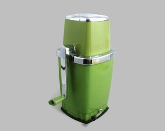 Avocado Green Swing-A-Way Ice Crusher, Vintage Swing A Way Manual Hand Crank Metal Ice Crusher, Retro Barware