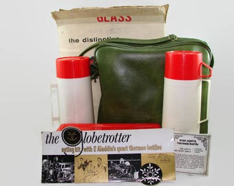 Aladdin Thermos Picnic Set, Ala-Diner Outing Kit, Quart Thermos Bottles, Sandwich Box, Green Carrying Case