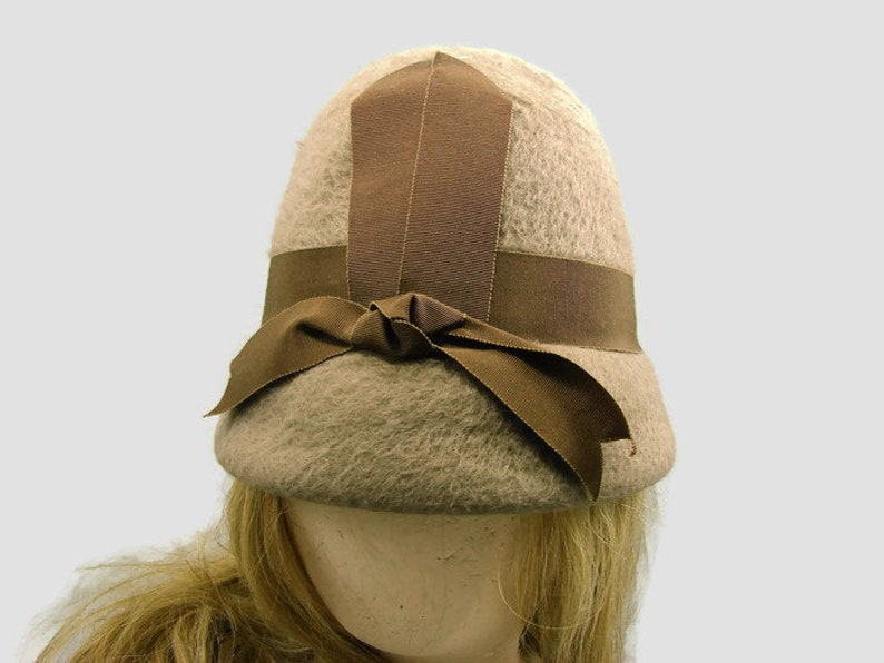 a2f0c1a9b4e Dale Capers Tan Cloche with Brown Grosgrain Ribbon and Bow
