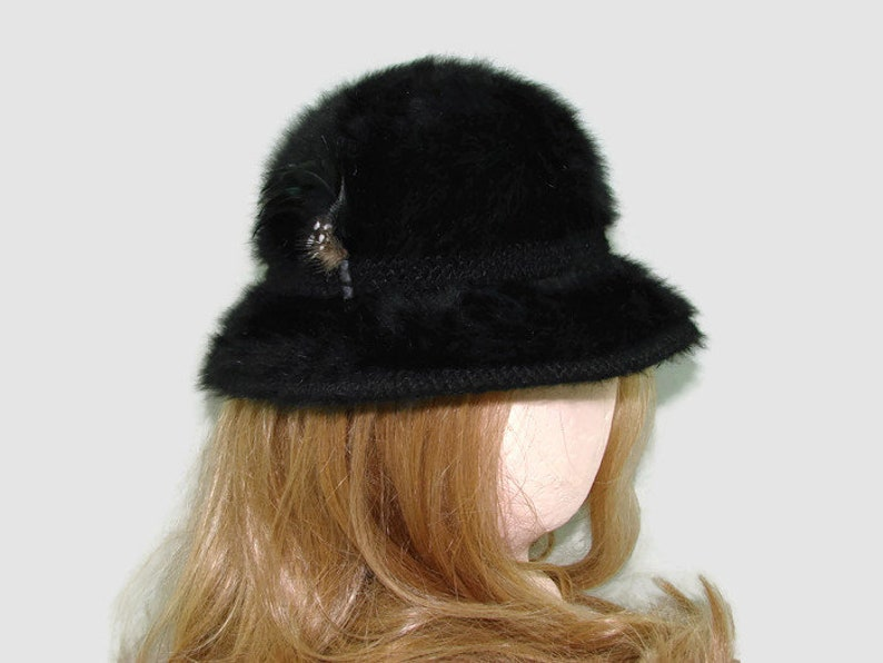85149384d5d62 Black Kangol Design Bucket Hat of Angora and Wool Black Fur