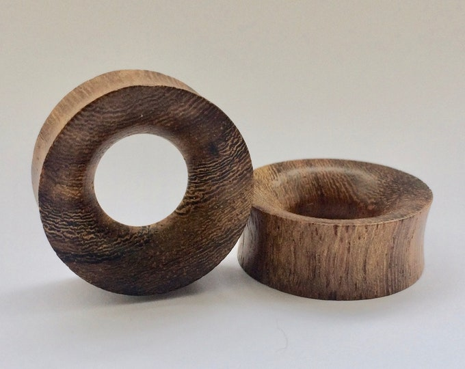 "Concave Hollow Wood Tunnels. 9/16"" / 14mm, 3/4"" / 19mm, 1"" / 25mm"