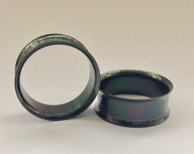 "Black PVD Plated Tunnels. 2g / 6.5mm, 0g / 8mm, 00g / 10mm, 9/16"" / 14mm, 5/8"" / 16mm, 7/8"" / 22mm"