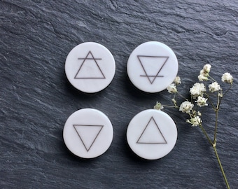 "The Elements Plugs. Fire, Water, Air & Earth. 2g / 6.5mm through 1"" / 25mm. Sigil Plugs, Vegan Plugs / Gauges, Pagan Plugs, Wicca Gauges"