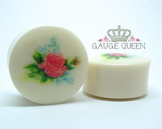 "Chintz Rose Plugs / Gauges. 2g /6.5mm, 0g /8mm, 00g /10mm, 1/2"" /12.5mm, 9/16"" /14mm, 5/8"" /16mm, 3/4"" /19mm, 7/8"" /22mm, 1"" /25mm"