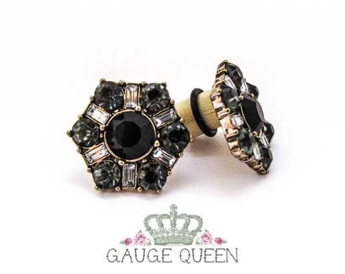 "Black Crystal Hex Plugs / Gauges. 00g / 10mm, 1/2"" / 12.5mm, 9/16"" / 14mm, 5/8"" / 16mm"