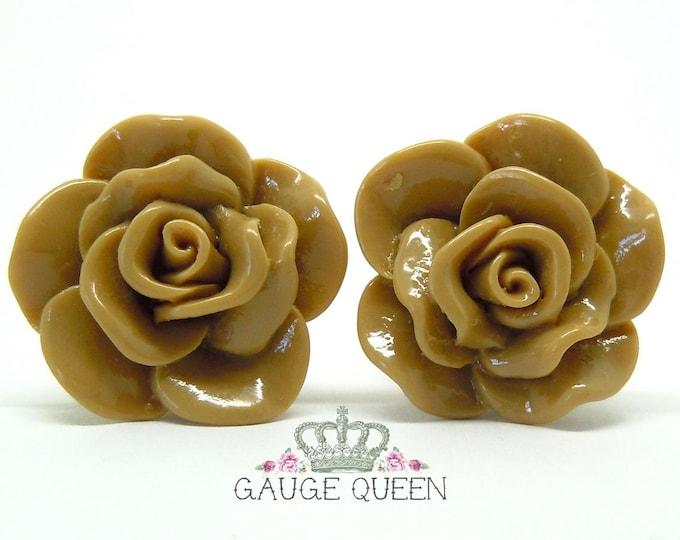 "Chocolate Brown Rose Plugs / Gauges. 2g / 6.5mm, 0g / 8mm, 00g / 10mm, 1/2"" / 12mm, 9/16"" / 14mm"