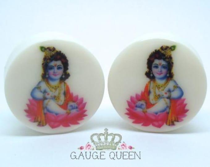 """Krishna Plugs / Gauges. 2g / 6.5mm, 0g / 8mm, 00g / 10mm, 1/2"""" / 12.5mm, 9/16"""" / 14mm, 5/8"""" / 16mm, 3/4"""" / 19mm, 7/8"""" / 22mm, 1"""" / 25mm"""