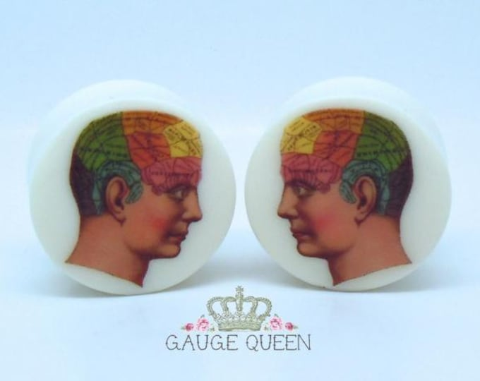 "Phrenology Plugs / Gauges. 2g /6.5mm, 0g /8mm, 00g /10mm, 1/2"" /12.5mm, 9/16"" /14mm, 5/8""/ 16mm, 3/4"" /19mm, 7/8"" /22mm, 1"" /25mm"
