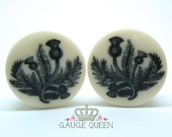 "Black Thistle Plugs / Gauges. 2g /6.5mm, 0g /8mm, 00g /10mm, 1/2"" /12.5mm, 9/16"" /14mm, 5/8"" /16mm, 3/4"" /19mm,7/8"" /22mm,1"" /25mm"