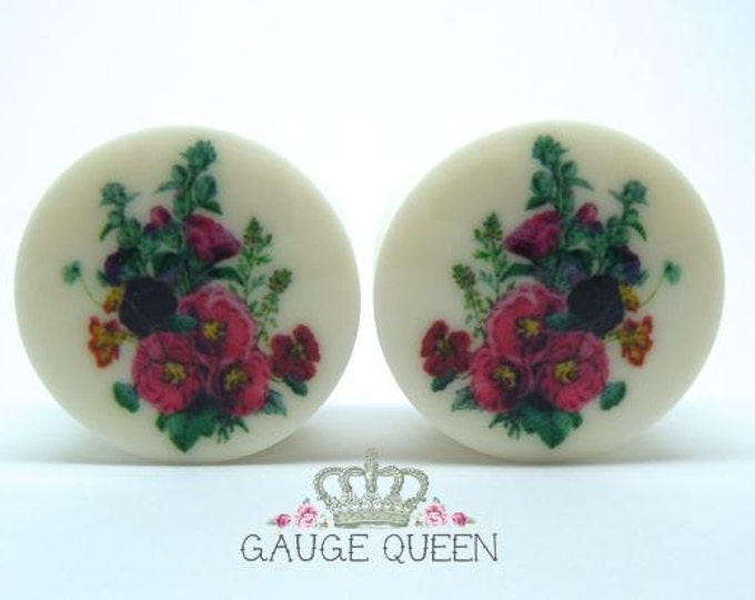 "Hollyhock Flower Plugs / Gauges. 2g / 6.5mm, 0g / 8mm, 00g / 10mm, 1/2"" / 12.5mm, 9/16"" / 14mm, 5/8"" /16mm, 3/4"" /19mm, 7/8"" /22mm, 1"" /25mm"