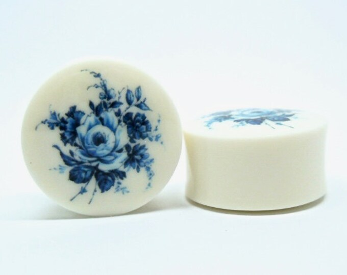 """Featured listing image: Delft Blue Rose Plugs. 2g / 6.5mm, 0g / 8mm, 00g / 10mm, 1/2"""" / 12.5mm, 9/16"""" / 14mm, 5/8"""" / 16mm, 3/4"""" / 19mm, 7/8"""" / 22mm, 1"""" / 25mm"""