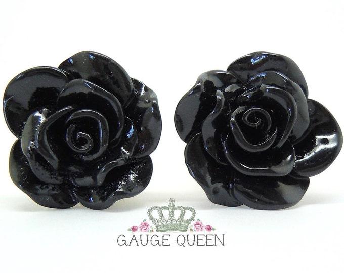 """Black Rose Plugs / Gauges. 2g / 6.5mm, 0g / 8mm, 00g / 10mm, 1/2"""" / 12mm, 9/16"""" / 14mm"""