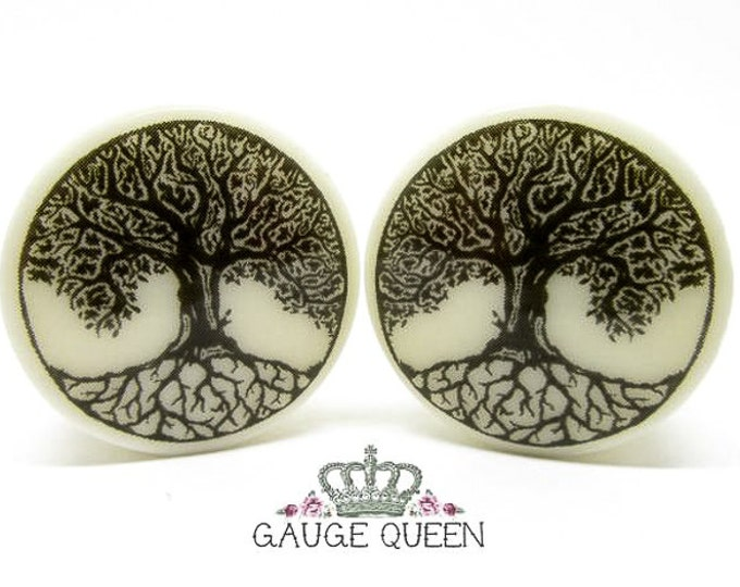 "Tree Of Life Plugs / Gauges. 2g / 6.5mm, 0g / 8mm, 00g / 10mm, 1/2"" / 12.5mm, 9/16"" / 14mm, 5/8"" / 16mm, 3/4"" / 19mm, 7/8"" / 22mm, 1"" / 25mm"