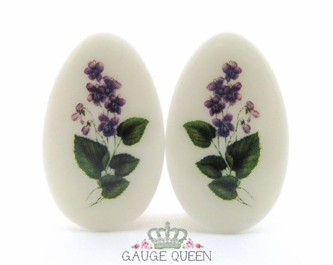 "Violet Flower Teardrop Plugs / Gauges. 2g /6.5mm, 0g /8mm, 1/2"" /12.5mm, 9/16"" /14mm, 3/4"" /19mm, 7/8"" /22mm, 1""/25mm"