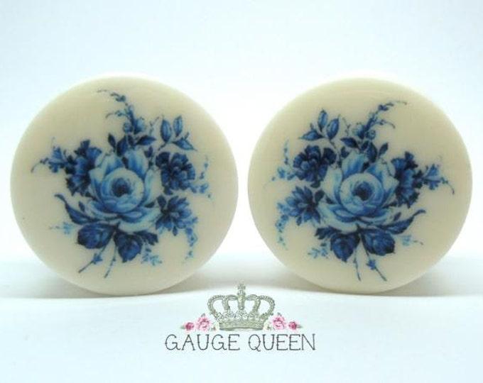"""Delft Blue Rose Plugs. 2g / 6.5mm, 0g / 8mm, 00g / 10mm, 1/2"""" / 12.5mm, 9/16"""" / 14mm, 5/8"""" / 16mm, 3/4"""" / 19mm, 7/8"""" / 22mm, 1"""" / 25mm"""