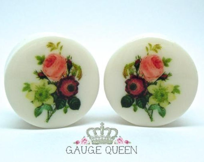 "Vintage Bouquet Plugs / Gauges. 2g / 6.5mm, 0g / 8mm, 00g / 10mm, 1/2"" / 12.5mm, 9/16"" / 14mm, 5/8"" / 16mm, 3/4"" /19mm, 7/8"" /22mm, 1"" /25mm"