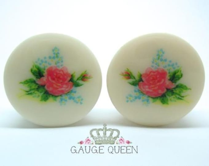 "Chintz Rose Plugs / Gauges. 2g / 6.5mm, 0g / 8mm, 00g / 10mm, 1/2"" / 12.5mm, 9/16"" / 14mm, 5/8"" / 16mm, 3/4"" / 19mm, 7/8"" / 22mm, 1"" / 25mm"