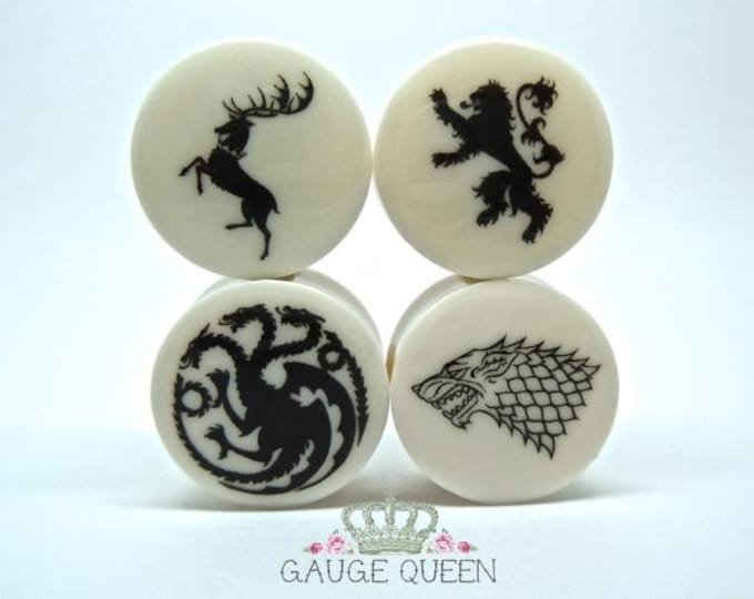 "Game Of Thrones Plugs/Gauges. 2g / 6.5mm, 0g / 8mm, 00g / 10mm, 1/2"" / 12.5mm, 9/16"" / 14mm, 5/8"" / 16mm, 3/4"" / 19mm, 7/8""/ 22mm, 1"" / 25mm"