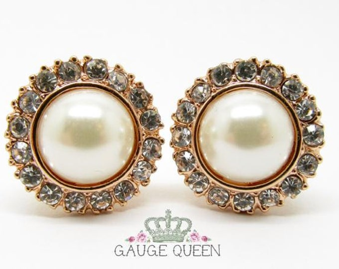 "Rose Gold Pearl Plugs / Gauges. 2g / 6.5mm, 0g / 8mm, 00g / 10mm, 1/2"" / 12.5mm"