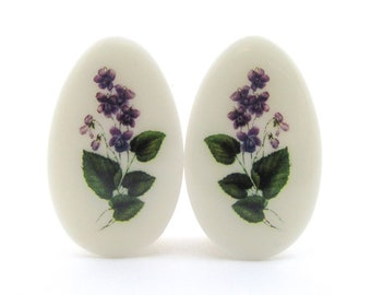 "Violet Flower Teardrop Plugs / Gauges. 2g / 6.5mm, 0g / 8mm, 1/2"" / 12.5mm, 1"" / 25mm"