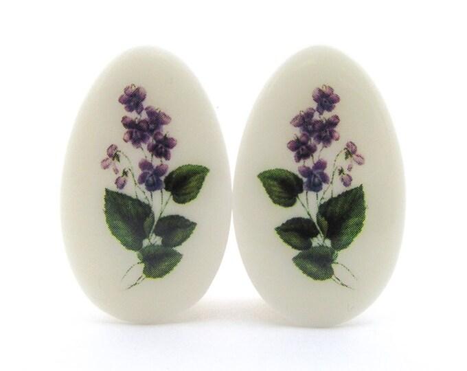 """Featured listing image: Violet Flower Teardrop Plugs / Gauges. 2g / 6.5mm, 0g / 8mm, 1/2"""" / 12.5mm, 1"""" / 25mm"""