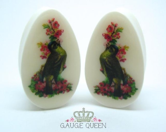 "Teardrop / Oval Bird Plugs / Gauges. 2g /6mm, 0g /8mm, 1/2"" /12.5mm, 9/16"" /14mm, 3/4"" /19mm, 7/8"" /22mm, 1"" / 25mm"