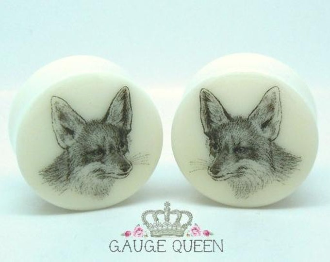 "Vintage Fox Plugs / Gauges. 2g / 6.5mm, 0g / 8mm, 00g / 10mm, 1/2"" / 12.5mm, 9/16"" / 14mm, 5/8"" / 16mm, 3/4"" / 19mm, 7/8"" / 22mm, 1"" / 25mm"