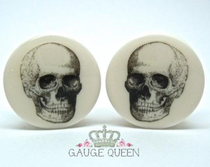 """Vintage Skull Plugs /Gauges. 4g /5mm, 2g /6.5mm, 0g /8mm, 00g /10mm, 1/2"""" /12.5mm, 9/16"""" /14mm, 5/8"""" /16mm, 3/4"""" /19mm, 7/8"""" /22mm, 1"""" /25mm"""