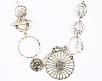 Necklace silver steampunk velo ajustable/ collier ajustable style steampunk argent velo