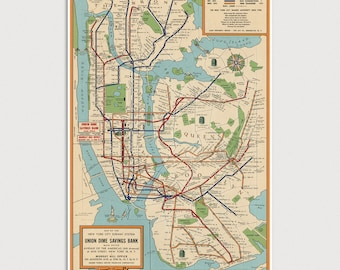 Nyc Subway Map On Business Card.Subway Map Etsy