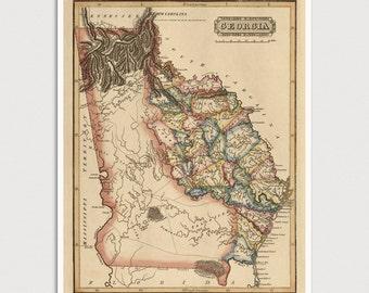 Georgia Map, Antique Map Art Print, 1817, Archival Reproduction