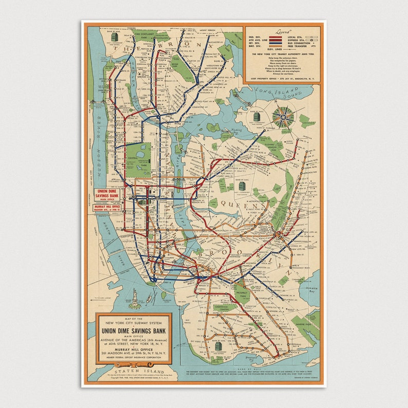 City Subway Map Art.Old New York Subway Map Art Print 1954 Antique Map Archival Reproduction